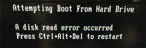 Attempting Boot from Hard Drive / A disk read error occured / Press Ctrl+Alt+Del to restart.